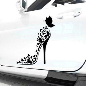 stickers-de-voiture-pour-femme-talon-haut-sur-voiture-blanche