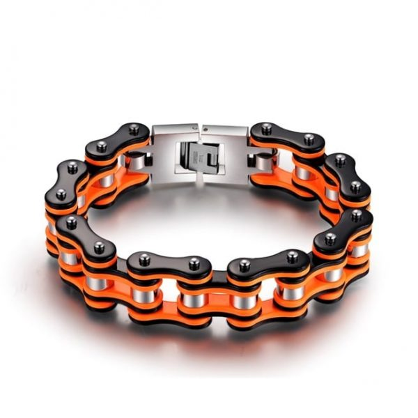 bracelet-chaine-de-moto-orange