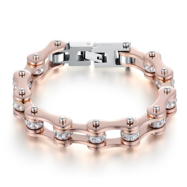 bracelet-chaine-de-moto-rose