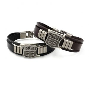 bracelet-moto-route-66-noir-et-marron