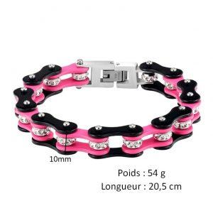 caractéristiques-du-bracelet-chaine-de-moto-pour-femme-noir-et-rose
