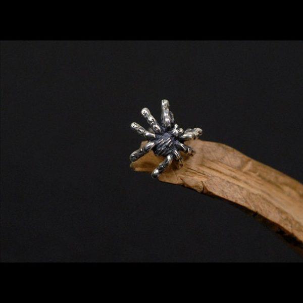 boucle-d'oreille-araignée-pose-sur-bois