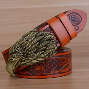 ceinture-biker-aigle-tete-bronze-ceinture-marron
