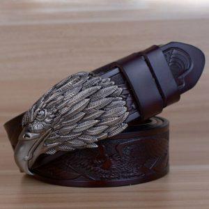 ceinture-biker-aigle-tete-grise-ceinture-noire