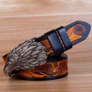 ceinture-biker-aigle-tete-grise-ceinture-noire-et-marron