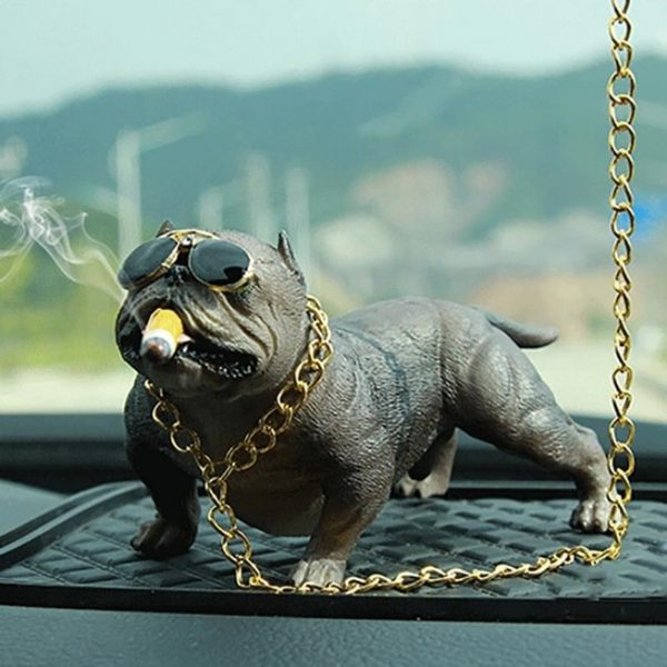 decoration-voiture-bulldog-gris