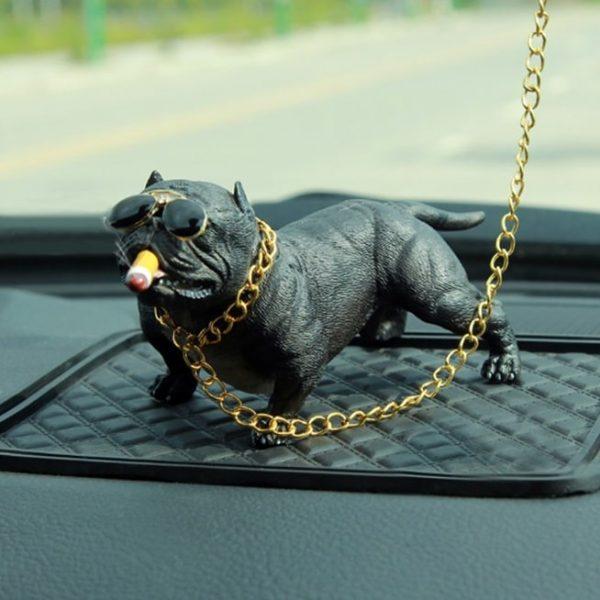 decoration-voiture-bulldog-noir