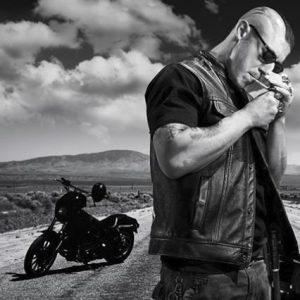 Gilet en cuir biker