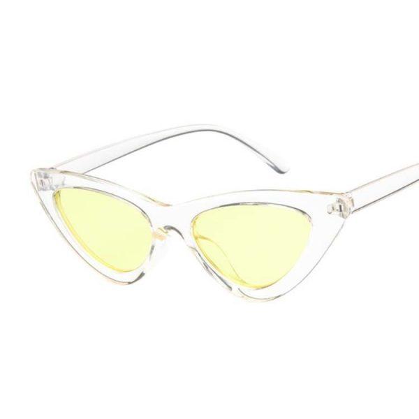 Lunette vintage femme transparente et jaune