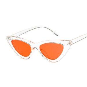 Lunette vintage femme transparente et orange