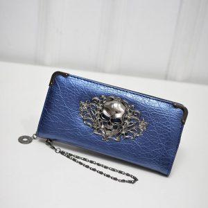Porte monnaie tete de mort bleu