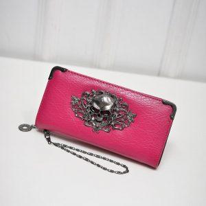 Porte monnaie tete de mort rose