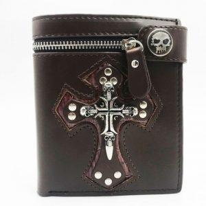 portefeuille avec tête de mort marron