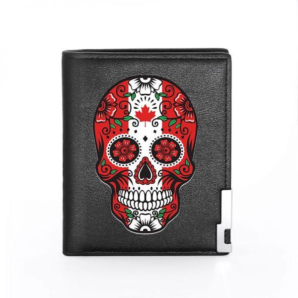 Portefeuille avec tete de mort mexicaine motard