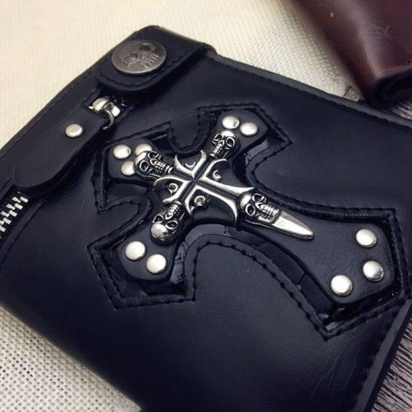 portefeuille tête de mort et croix