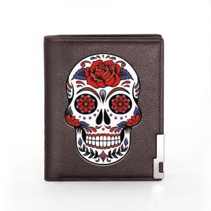 Portefeuille tete de mort mexicaine marron