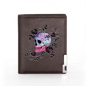 Portefeuille tete de mort mexicaine marron skull