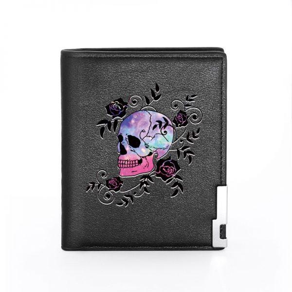Portefeuille tete de mort mexicaine noir skull