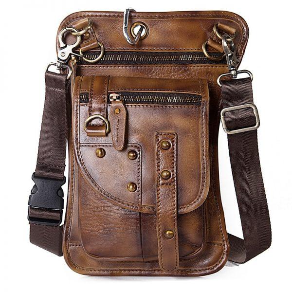 Sacoche de cuisse moto en cuir brun clair
