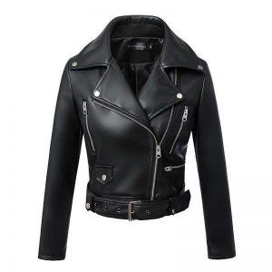 Veste biker noir femme